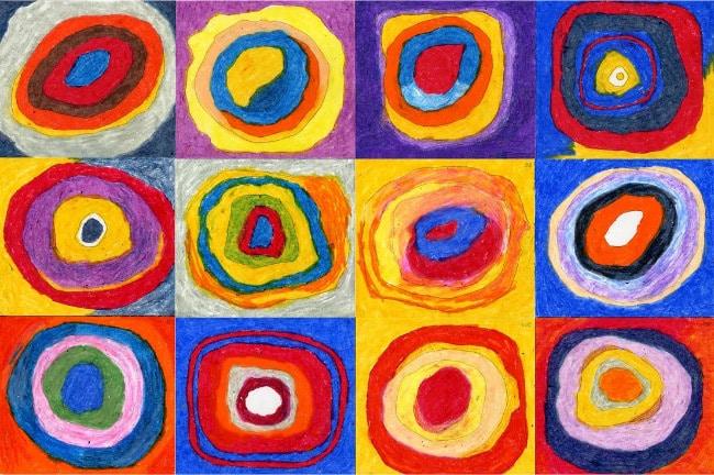 Цветной эскиз: Квадраты с концентрическими кругами кандинский