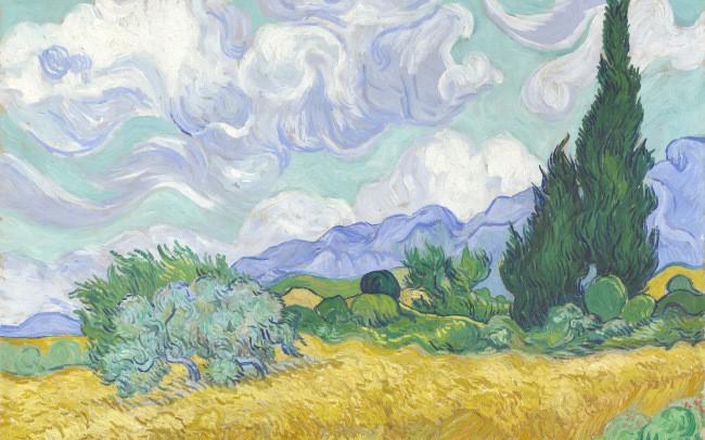 Пшеничное поле с кипарисами ван гог